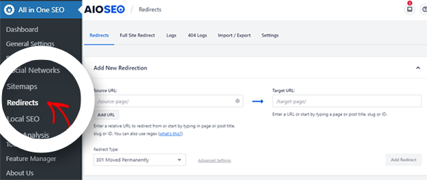 AIOSEO Redirects Settings