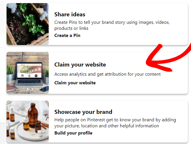 Choose Claim your website
