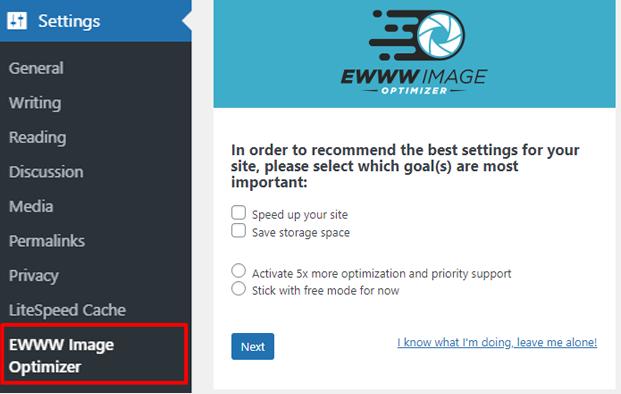 EWW Image Optimizer settings
