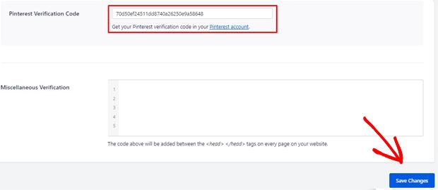 Pinterest Verification code