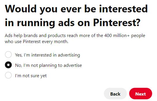 Running ads on Pinterest