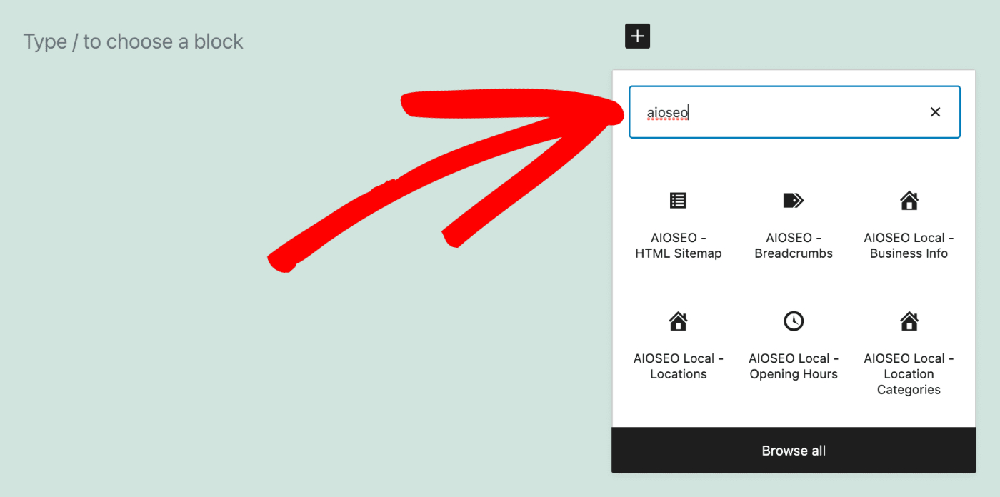 Add Block popup showing the AIOSEO - HTML Sitemap block