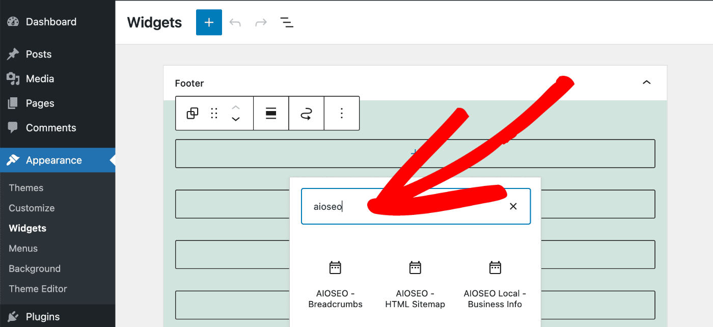 Add Widget popup showing the AIOSEO - HTML Sitemap widget