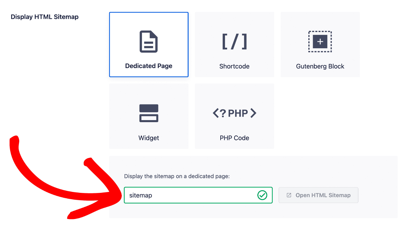 Dedicated Page option in the Display HTML Sitemap section