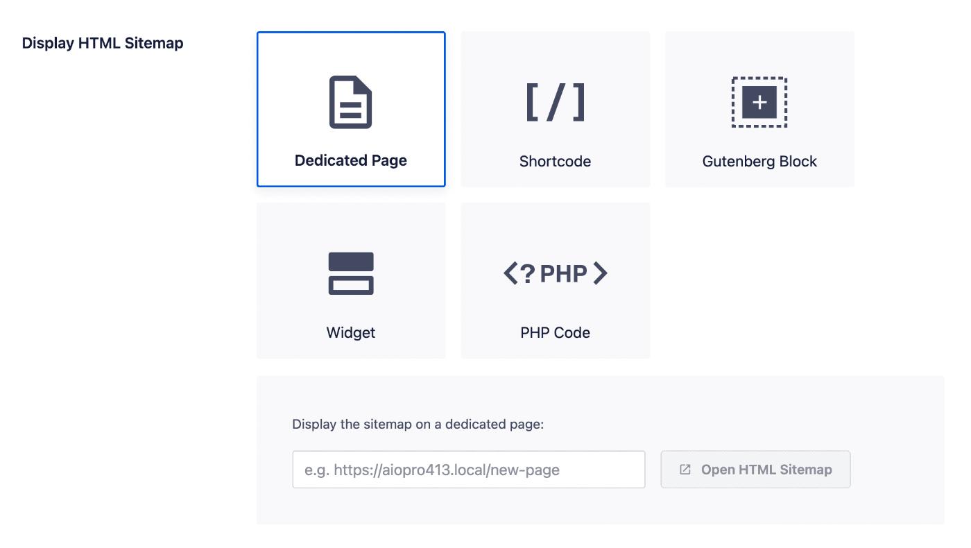 Display HTML Sitemap settings