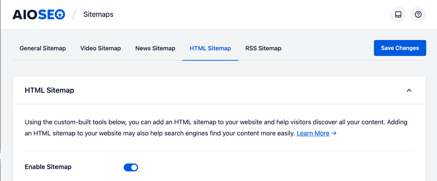 Enable Sitemap toggle on the HTML Sitemap settings screen
