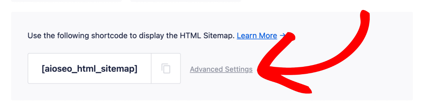 Advanced Settings link next to the shortcode in HTML Sitemap settings