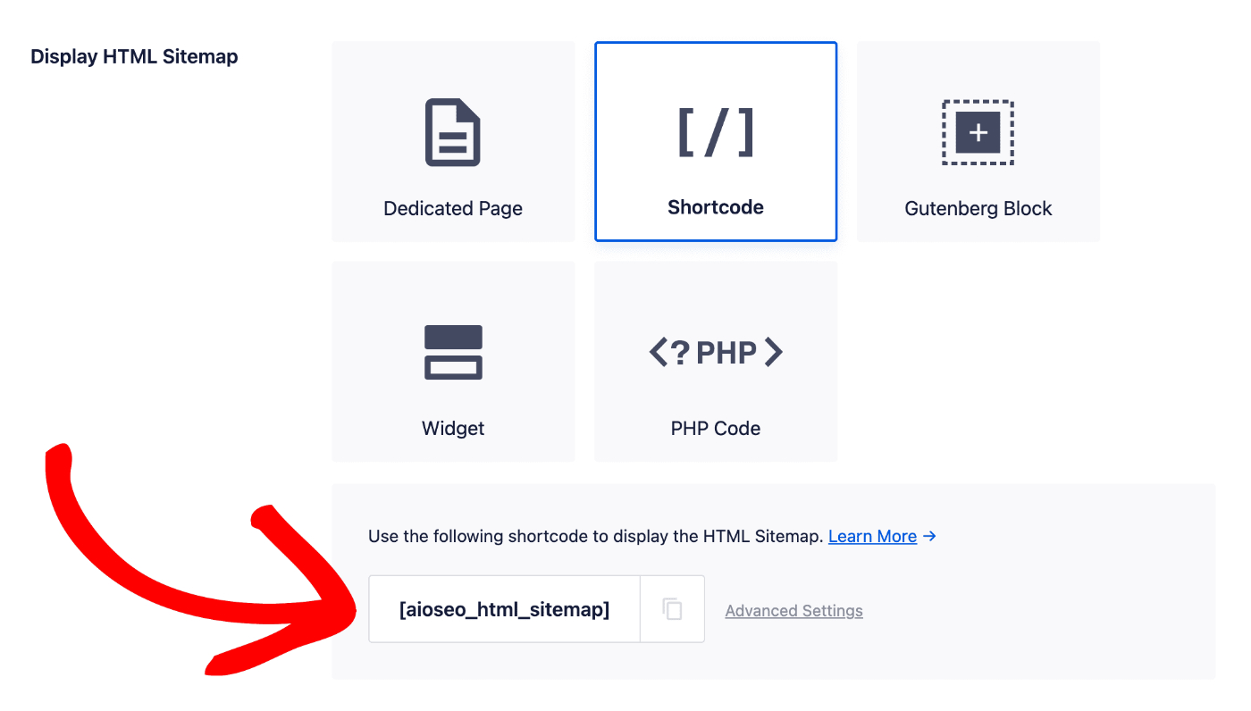 Shortcode option in the Display HTML Sitemap section
