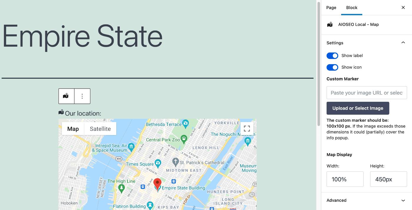 AIOSEO Local Map block settings