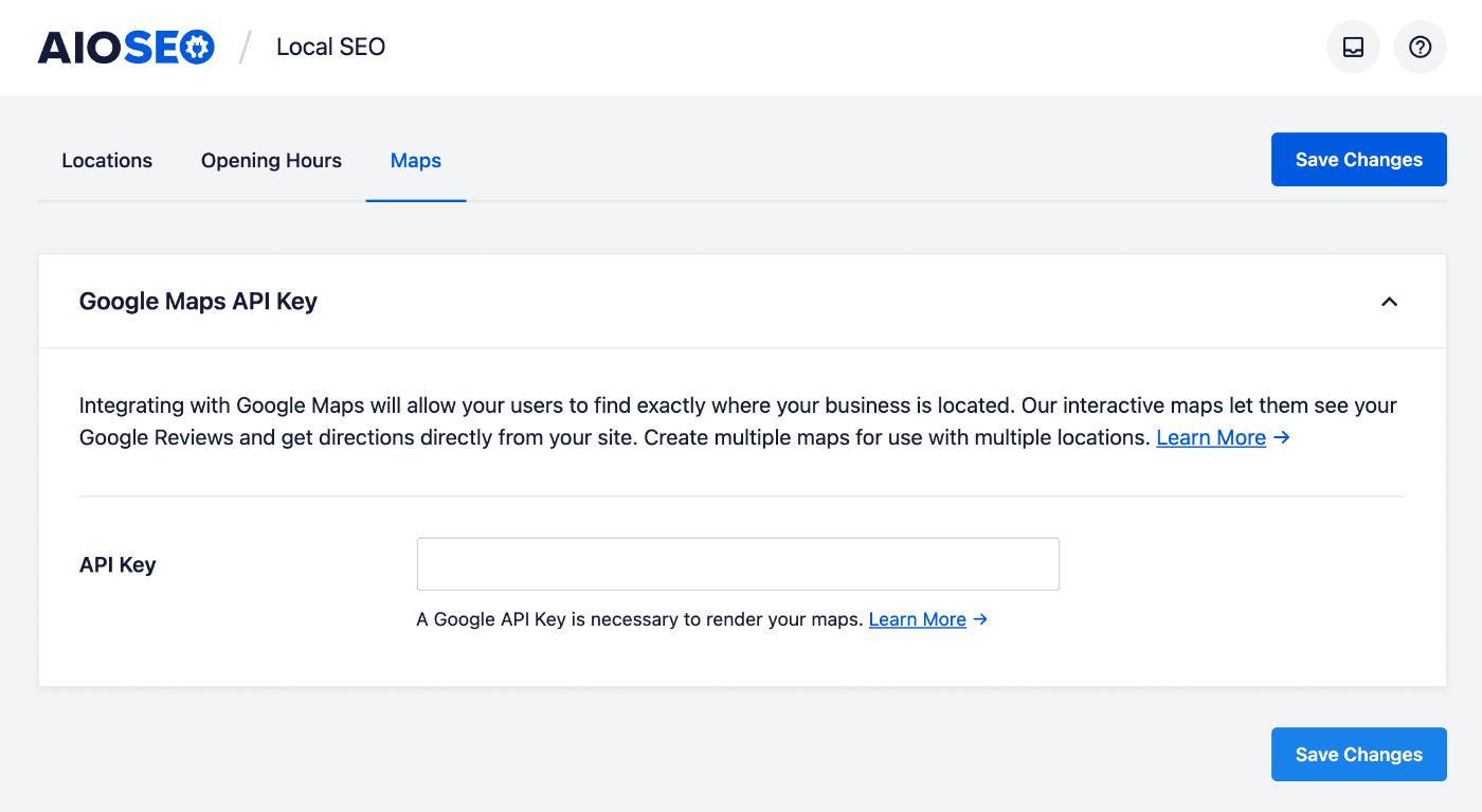 Google Maps API Key settings in All in One SEO Local SEO settings