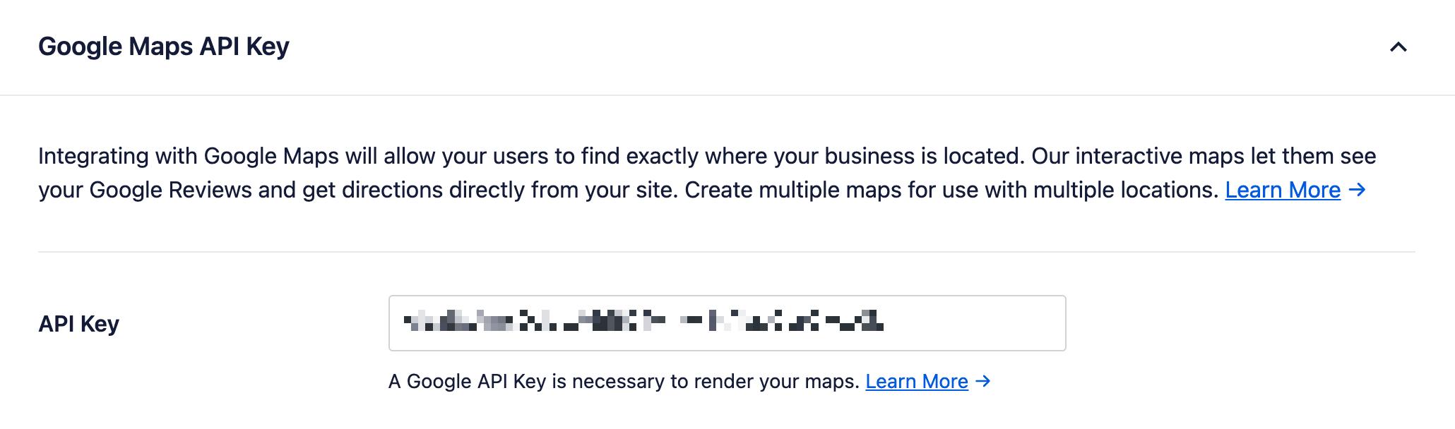 Google Maps API Key input in the API Key field
